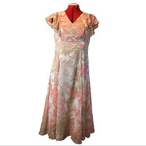 Tommy Hilfiger Pink Floral V-Neck Dress, Sz 10